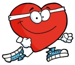Clipart Illustration of a Healthy Red Heart Running Past
